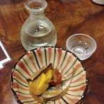 幅一 - 満寿泉とお通し(夏野菜と小鯵の南蛮漬け)