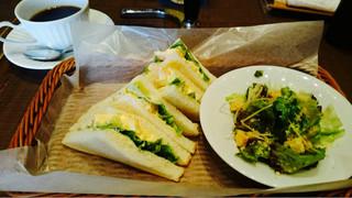 倉式珈琲 上ノ島店 - サンドイッチモーニング 572円 海老卵サンド 100円プラス