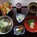 53756772 - イワシ御膳。フライ、漬丼、小鉢、つみれ汁、お新香です。