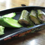 みくに茶屋 - 28年7月 すりおろした自然薯をそのまま味付けのりで挟んだ自然薯の刺身は逸品!