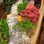 魚~ずまん - 5点盛りをリピwくじらはごま油で♡まぐろの中おち、太刀魚の炙り またまた美味しくて幸せ〜♡(^O^)
