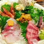 魚~ずまん - 最初は7点盛り♡甘海老、シマアジ、雲丹、オコゼ、つぶ貝、真鯵、中とろ〜美味しかった(^O^)