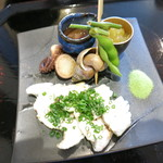 懐石一空 - 穴子の白焼き イイダコ 蛍烏賊沖漬け 薩摩芋 つぶ貝 枝豆