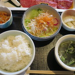 53781846 - <2016年7月>ライス、スープ、サラダ、小鉢、漬物