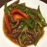 台湾小籠包 - 牛肉とピーマンの炒め物