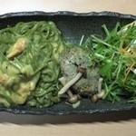 茶寮翠泉 - 茶そばのカルボナーラ 豆腐ハンバーグセット