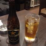 とりの炭家 - 瓶ビールとウーロンハイ