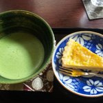 ガレリア アーツ&ティー - 季節の和菓子と抹茶(和菓子が品切れでさつまいもタルトに変更)
