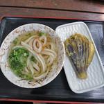 根ッ子 - 冷かけうどん withナス天ぷら