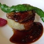 53854744 - フォアグラのソテーと大根のステーキ 旬野菜添え