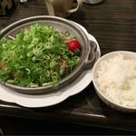 53875603 - ネギ塩鉄板ハンバーグ〜♪( ´θ.`)ノ