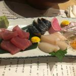 日本酒×北海道食材 地元家 - 鮪、鯖、ホタテ、真鯛のお造り