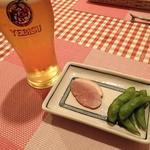 洋食屋 スヤマ - 料理写真:ビール(エビス樽生)と摘み @2016/07/20