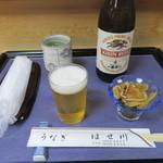 うなぎ はせ川 - 瓶ビール・お通し(2016/7)
