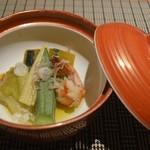 魚菜 基 - 海老と野菜の炊き合わせ 2016年6月:7,000円のコース