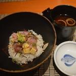 魚菜 基 - バラちらしと味噌汁 2016年6月:7,000円のコース