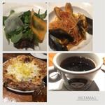 八王子バル So.ler - パスタランチ ムール貝 ピッツァランチ  クアトロフォルマッジ サラダ、コーヒー付き 安いし、旨い。