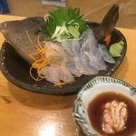 ゑびす - カワハギの刺身&肝醤油
