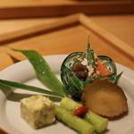 いしづか - △前菜:夏野菜の白和え,いぶりガッコのクリームチーズいこみ/アスパラのたで酢ジュレ/クリーム豆腐っぽいもの