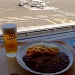 53958934 - ふわとろオムカレー;窓外は函館から到着のHAC230便.この後653便として釧路に出発 @2016/07/23