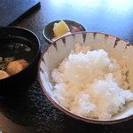 まんま亭 楽 - 小斎地区のひとめぼれ(新米)とお味噌汁