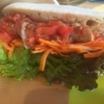 エニウェイ サンドイッチショップ - ソーセージ&サルサでパンがチャパタです。