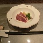 teppanyakiatago - アミューズ(燻し鴨) 2016.05.29