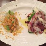 アンティカ トラットリア ドゥエ ヴェッキ - 前菜はコチのカルパッチョと生ハムサラダ