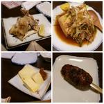 フィッシュ 有 - (2016.7.23再訪)左上:豚足、右上:肉豆腐、左下:だし巻き玉子、右下:だんご(つくね)