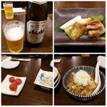 フィッシュ 有 - (2016.7.23)左上:瓶ビールでスタート♪、右上:お通し、左下:冷やしトマト&しらすおろし、右下:もつ煮込み