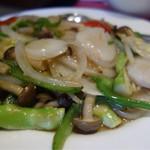 台湾料理 長楽 - ホタテとアスパラの塩炒め¥980-