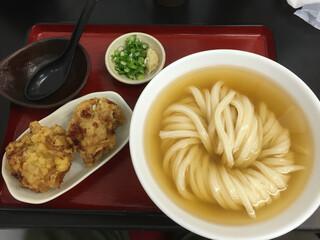 極楽うどん TKU - ひやかけ(中盛)鶏天セットd(^_^o)