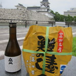 高田屋 - 富山城をバックに立山と並んで、パシャリ