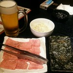 炭火焼肉香味苑 - タン、韓国のり、生ビール