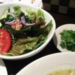 53993416 - サラダと別皿パクチー