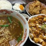 中華料理 喜多郎 - 麻婆豆腐定食 980円+税 台湾ラーメン 麻婆豆腐 唐揚げ ライス