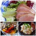 BASSIN - *鴨肉のロースト・・食べやすい品のようですよ。 *鮭のタルタル・・海苔で巻いて頂きます。 *トマトと胡瓜の塩昆布和え・・サッパリ頂ける品。
