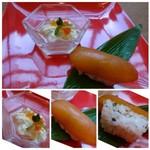 BASSIN - ◆お通し(500円)・・トマト寿司と生湯葉。 お洒落なお通しですこと。