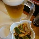 54006794 - 生ビールとお通しのイカのぬた和え