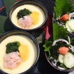 魚蔵 - カニ身の茶碗蒸し&特製ふぐ皮ポン酢(ふぐコース料理・10品コース)