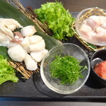 魚蔵 - 濃厚白子入り 極ふぐちり鍋の具材/ふぐと白子(ふぐコース料理・10品コース)