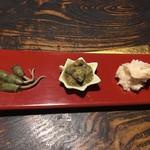 旅館阿久根 - 前菜:メカジャ・ワケノシンノス・タイラギ貝柱の粕漬け