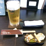 キッチンたきざわ - スーパードライ生中¥500       つきだし¥?