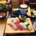 海座 - 茶碗蒸し、天ぷら、うどん、フルーツ選べる二品❤︎
