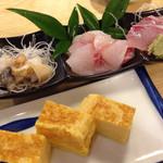 海商寿し - お刺身3種と厚焼きたまご