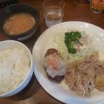 キッチン大 - おろしハンバーグ&スタミナ焼 ¥650-