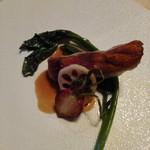 高原のホテル ラパン  - 金目鯛のポアレ ツルムラサキと甲殻類のソース