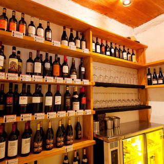 こだわりのワインは常時50種以上!