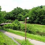 地球屋 - 店前から野川を望む