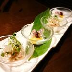 54127010 - 博多地鶏の梅肉和えと真鯛の酢味噌掛け (コース)